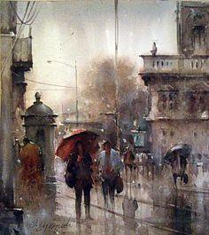 "Watercolor, ""Rainy day in Belgrade"" by Dusan Djukaric"