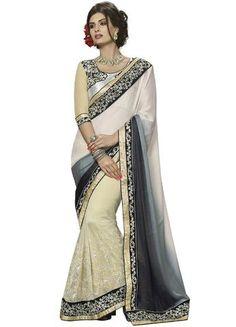 Off White Crepe Jacquard Saree ,Indian Dresses