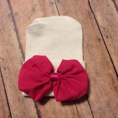 Newborn baby girl hospital hat beanie  white hat by BBgiftsandmore