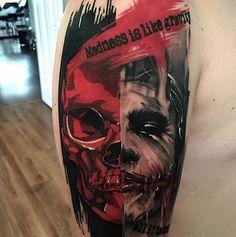 This badass trash polka style skull was inked by Vilan Eduard. #inked #trashpolka #skull #skull #tattoos #week
