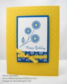 brightr & beautiful handmade card ... World-Treasures-Flower2  ... sunny yellow with royal blue and white ... flowers ... good, clean design ... Stampin' Up!