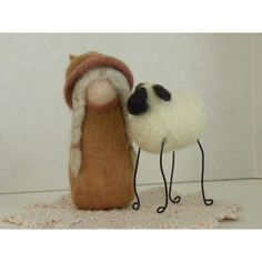 Everyone Needs a Friend.  Soft and wooly needle felted duo for home decor whimsy.