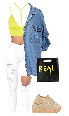 """""""Say what's real"""" by princess-alexis18 ❤ liked on Polyvore featuring Oh My Love, Gucci and Puma"""