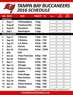 buccaneers 2016 schedule | Tampa Bay Buccaneers Printable Schedule 2016-17