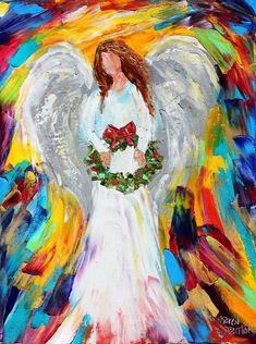Christmas Angel painting original oil on canvas by Karensfineart More