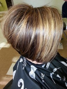 Inverted Bob, a line cut. This model is over 50! Trendy styles for the 40 plus age group! #sarahlivesay