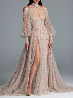 Long Sleeve Floor-Length See-Through Pullover Fall Dress – Store Ball Dresses, Ball Gowns, Evening Dresses, Prom Dresses, Pretty Outfits, Pretty Dresses, Beautiful Dresses, Look Fashion, Fashion Outfits