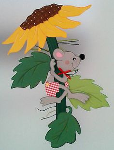 Fensterbild Maus klettert auf Sonnenblume -Herbst- Dekoration - Tonkarton!