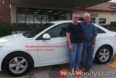 "James and Deborah Clemens from Utica, Missouri purchased this 2014 Chevrolet Cruze and wrote, ""The staff here hods to a Godly principals and that means volumes to us! Polly and Neva were so patient and sweet to work with and the whole process was remarkably fast!"" To view similar vehicles and more, go to www.wowwoodys.com today!"