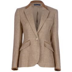 RALPH LAUREN BLUE Tweed blazer ($555) ❤ liked on Polyvore featuring outerwear, jackets, blazers, coats, coats & jackets, brown tweed blazer, long sleeve jacket, brown blazer, brown tweed jacket and long sleeve blazer