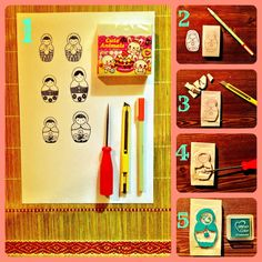 This craft was inspired by my love/obsession with the purdiest of the doll family~ the Russian Matryoshka doll. A lifetime ago an e. Crafts To Make, Diy Crafts, Eraser Stamp, Pencil Eraser, Stamp Printing, Homemade Valentines, Matryoshka Doll, Custom Stamps, Valentine's Day Diy
