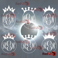 Princess Crown, King, Queen, Monogram Frame Set 03 - SVG Cut File, DXF, Png, Eps, Pdf, Ai, Cricut, Silhouette Studio, Instant Download by RedFoxDesignShop on Etsy