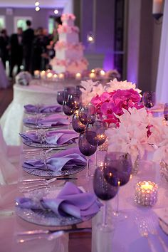 Gorgeous lavender & pink wedding reception table decorations.
