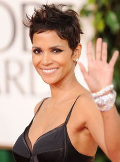 Halle Berry 2011 Golden Globes. I love her fun bracelet element. Her big yet simple diamond stud earrings go great with her super short pixie hair look.