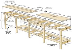 Includes lower space for compound miter saw.