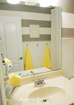 horizontal stripes bathroom; half wainscoting, half stripes