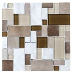 Shop allen + roth Metal Elements Cubes Mosaic Glass and Metal Wall Tile (Common: 12-in x 12-in; Actual: 11.75-in x 11.75-in) at Lowes.com