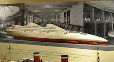 "Another model of Norman Bel Geddes' ""Whale"" ocean liner."