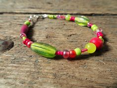 Beaded bracelet bracelet boho bracelet bead bracelet gift for her jewelry pink bracelet bohemian bracelet green bracelet pink green boho Handmade Beaded Jewelry, Handmade Bracelets, Earrings Handmade, Beaded Bracelets, Bridal Bracelet, Bridal Earrings, Bohemian Bracelets, Boho Jewelry, Thread Jewellery
