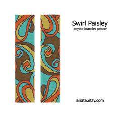 Swirl Paisley Peyote Bracelet Pattern INSTANT por lariata en Etsy