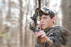 High school senior boy bow hunting www.