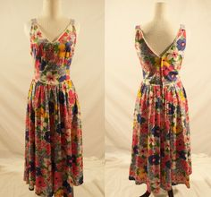 1980's Long Dress/Floral 1980's Dress/Vintage Dress by ChicJacksVintage on Etsy