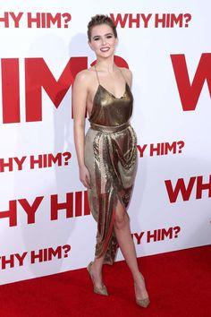 Zoey Deutch.. Balmain Spring 2017 RTW gold dress..