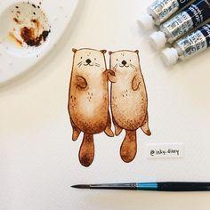 13ba0b7f5bbb401775de7244a9feb821--watercolour-cartoon-watercolor-otter.jpg (736×736)