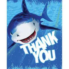 Foldover Thank You Cards Shark Splash/Case of 48