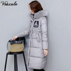 Vraxale Winter New Jacket Women's Parks Cotton-padded Jackets Large Fur Collar Women's Long Slim Women's Outerwear