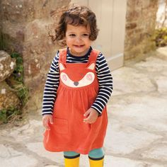 Girls' Fox Cord Jumper Dress | JoJo Maman Bébé