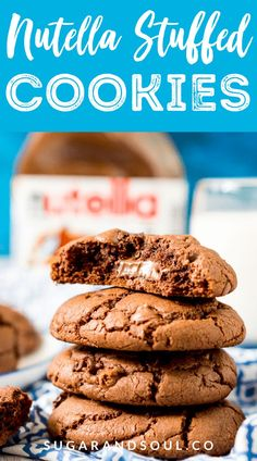 These Nutella Stuffed Cookies are a delicious double chocolate chip cookie that's laced with Nutella and stuffed with a gooey hazelnut chocolate filling. #nutella #cookies #recipe #dessert #chocolate
