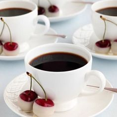 ☕ accompany each cup of joe w/ a pair of fresh cherries dipped in melted white chocolate.  #coffee service