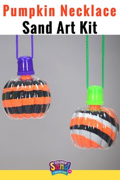 Pumpkin Sand Art Necklaces are a hit at Fall Festivals, School Carnivals, Halloween Parties, Pumpkin Patches, Trunk or Treats, Church Events, Block Parties, Harvest Fests, Corn Mazes, Halloween Alternative Events, etc. Kids of ALL ages will have a blast with this FUN Pumpkin Craft. Layer colored sand to make a creative party favor!