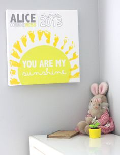 You are my sunshine footprints on canvas - Add your baby's footprints - 16x16 - Nursery art - Baby shower gift - Yellow - grey -Customizable