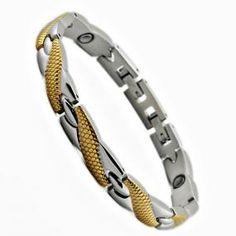 Braccialetto acciaio inossidabile placcato in oro con ioni negativi