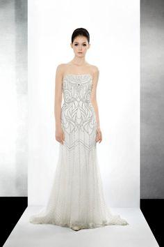 Bridal, Fall 2010.  Sheath. Strapless. Beading, crystals. Floor-length. #LusanMandongus #Bridal