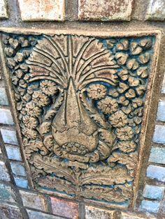 Batchelder tile in Monrovia home fireplace. 1923. Pineapple. Thistle.