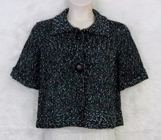 Womens 600 WEST Green White Black Short Sleeve Sweater Jacket Cardigan Size L  #600West #Cardigan #CasualWork