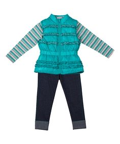 Look what I found on #zulily! Jade Sequin Ruffle Vest Set - Infant, Toddler & Girls by Little Lass #zulilyfinds