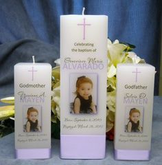 Baptism Christening Candle with God Parent by PersonalizedCandles, $42.00