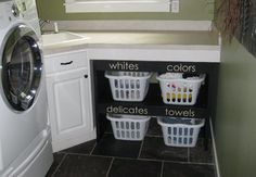 Really Cool Idea to Organize the Laundry Room...Would Look Better w/ the Cotton Like Material Square Laundry Baskets & of course Shelves painted to Match Your Decor!  MY NEW PROJECT!!
