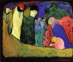 Encounter, 1908, Wassily Kandinsky Size: 365x425 cm Medium: oil on wood