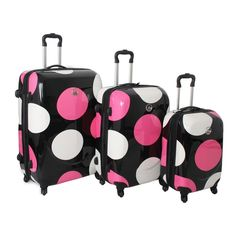 pink dots luggage. Perfect for California!!