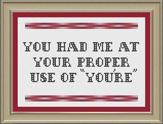 You had me at your proper use of you're by nerdylittlestitcher, $3.00