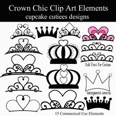 Crown Chic Digital Clipart Elements Commercial by cupcakecutiees