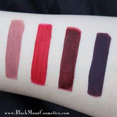 """Black Moon Cosmetics launch collection: """"From left to right: •Libra• •Sanguis• •Deranged• •Purgatory•"""""""