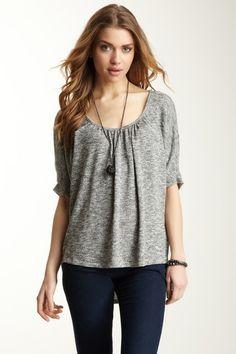 Velvet Zoann Lurex Knit Hi-Lo Sweater