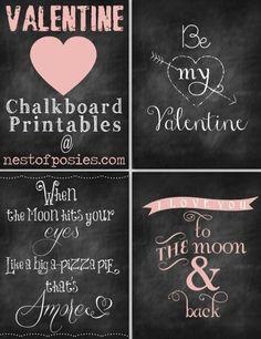 Free Valentine chalkboard printable artwork