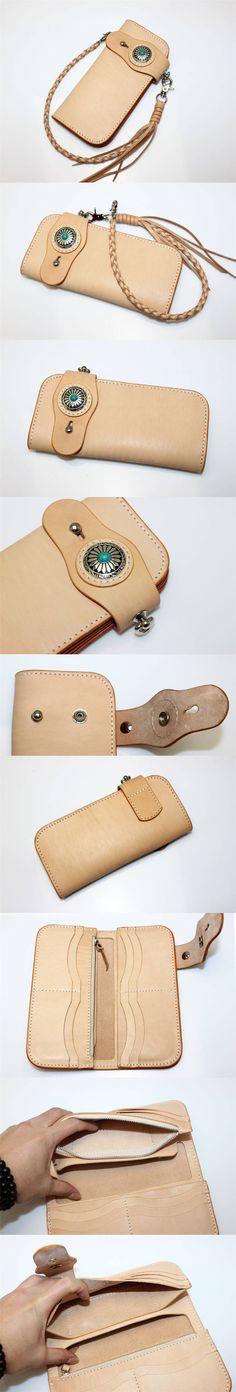 New Tan Leather Handmade Mens Biker Rocker Redmoon Goro Style Wallet w Concho   eBay